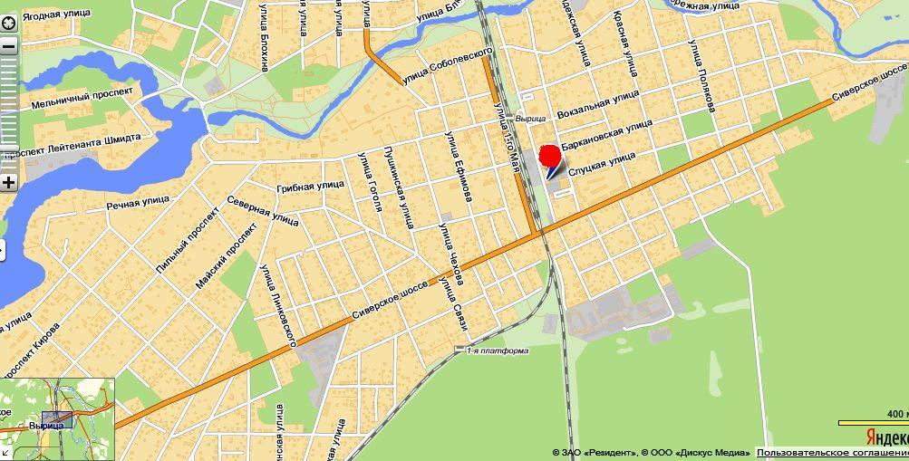 карта вырицы с улицами