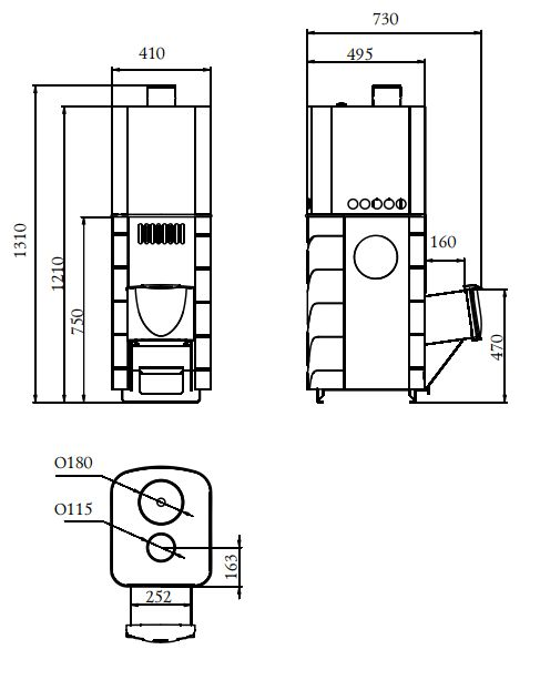 Схема габариты печи Бирюса